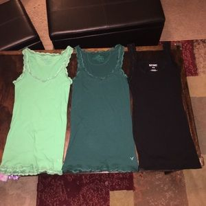 3 lace trim tank tops size M